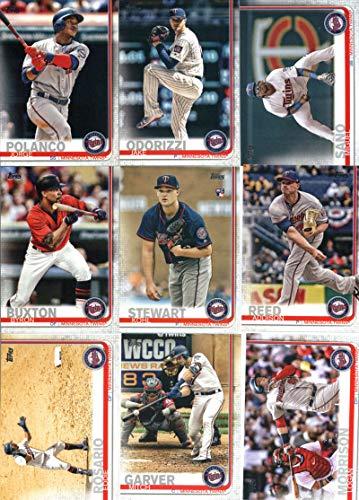 2019 Topps Series 1 Baseball Minnesota Twins Team Set of 11 Cards: Jake Odorizzi(#63), Jorge Polanco(#69), Miguel Sano(#116), Byron Buxton(#158), Kohl Stewart(#177), Addison Reed(#193), Eddie Rosario(#258), Mitch Garver(#277), Jose Berrios(#302), Logan Morrison(#324), Ervin Santana(#335)