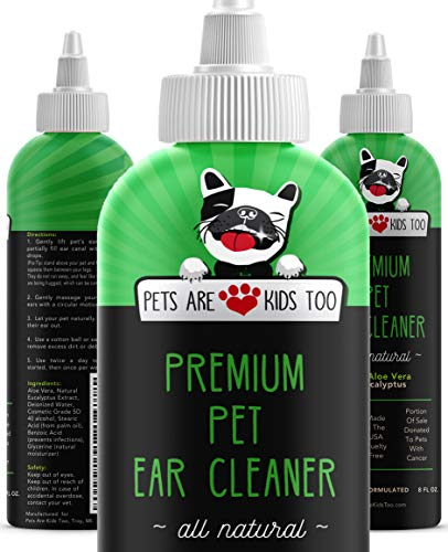 Dog and Cat Ear Cleaner Solution - All-Natural Pet Ear Infection and Mite Treatment Made with Eucalyptus and Aloe Vera - No Steroids or Chemicals, for Sensitive Pets - Vet Formulated (8 oz)