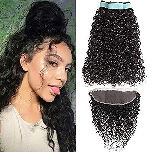 9A Brazilian Water Wave Human Hair Bundles with Frontal 13x4 Free Part Lace Frontal Virgin Human Hair Bundles Human Hair Extensions Natural Color(10 12 + 10 frontal)