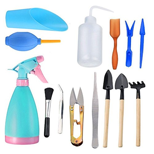 EatingBiting(R) 14pcs Mini Garden Hand Tools Transplanting Tools Succulent Tool Miniature Planting Gardening Tool Set Fairy Plante Tool needs digging loosening soil transplanting cleaning watering by EatingBiting(R)