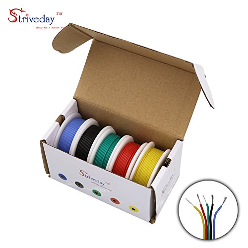 Striveday™ 30 AWG Flexible Silicone Wire Electric wire 30 gauge Coper Hook Up Wire 300V Cables electronic stranded wire cable electrics DIY BOX-1 by striveday (Image #8)