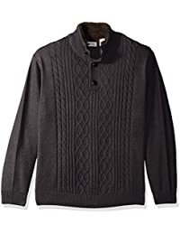 Men's Solid Cable Knit Button Down Mock Neck Sweater