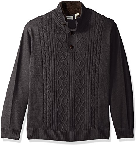 Haggar Men's Solid Cable Knit Button Down Mock Neck Sweater