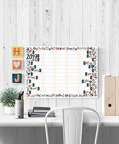 Amazon.com : 2019 Wall Planner, 2019 Calendar, Yearly ...