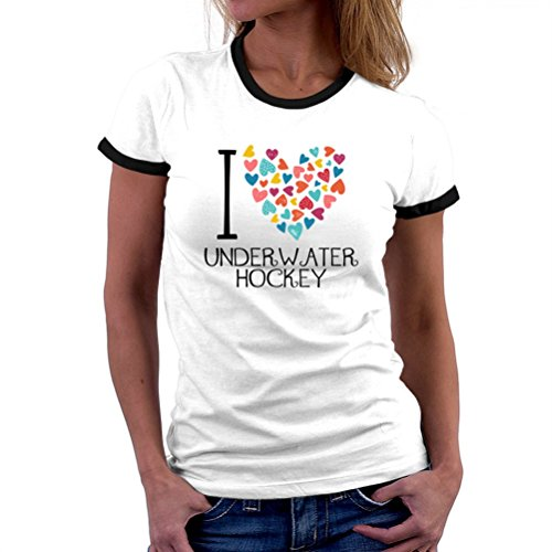 I love Underwater Hockey colorful hearts Ringer T-Shirt