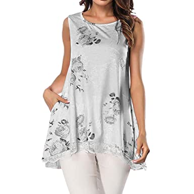 b2667a1040066c KASIDN Women s Floral Print Lace up Round Neck Tank Tops Pocket Tunic for  Leggings Swing Flare