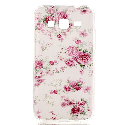 "For Samsung Galaxy Core Prime SM-G360F Case , ivencase Rose Ultra Slim Transparent Sides Flexible Soft TPU Gel Silicone Protective Rear Skin Cover + One ""ivencase"" Anti-dust Plug Stopper"