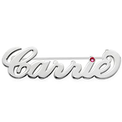 Amazon.com: Ouslier Personalized 925 Sterling Silver Birthstone Name Brooch Pin Custom Made with Any Names (Silver): Jewelry