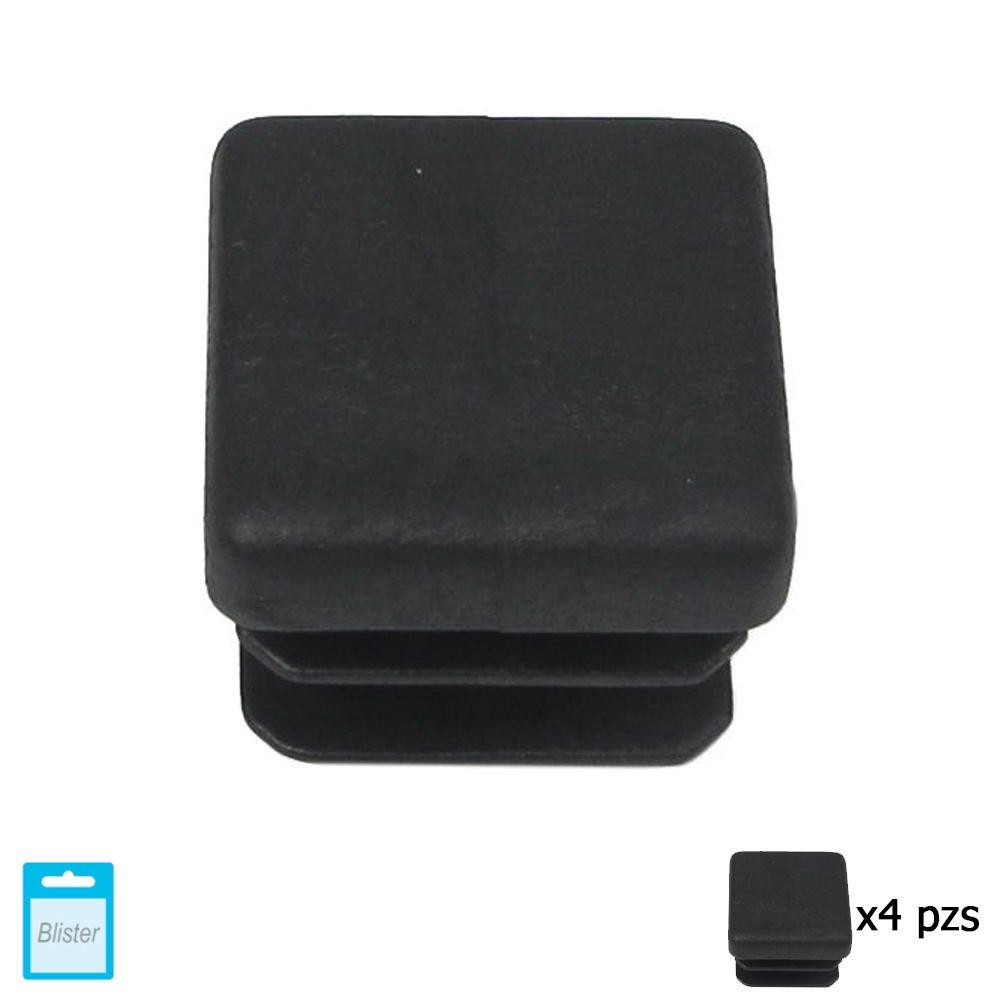 Maurer 5330704 Contera Cuadrada de Interior, Negro, 20 x 20 mm, Set de 4 Piezas
