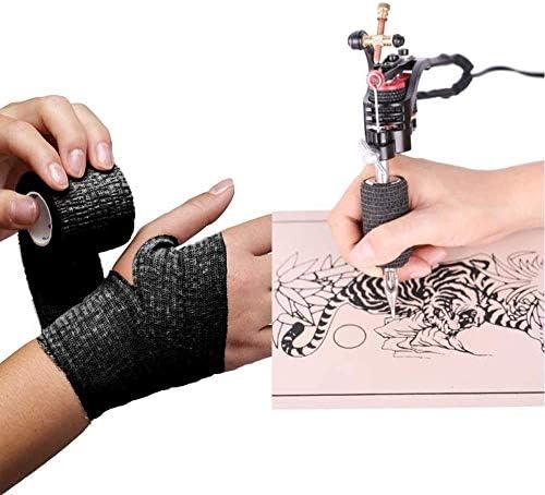 ruiruiNIE 10 Pezzi 5 cm Tatuaggio USA e Getta Autoadesivo Adesivo Elastico Grip Bendaggio Avvolgere Sport Nastro Bendaggio Adesivo