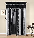 Okapi Curtain Set Micro Fur Zebra with Firaffe Print Desing, Black/White Color Window, Drape Set By Cozy Beddings
