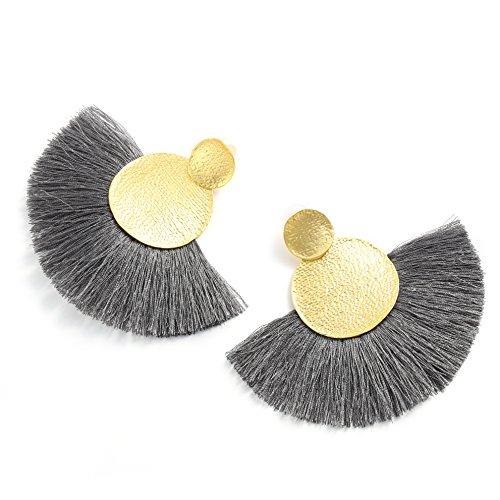MOOCHI Women's Grey Tassel Hanging Fashion Half Round Earrings Vintage Ethnic Fringed - Hanging Fashion Earrings