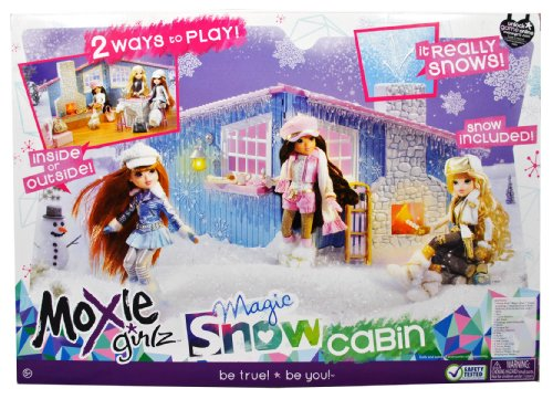 """Moxie Girlz Doll Series Accessory Set - Magic Snow Cabin with Bat Table, Bar Stool, Couch, Firelogs with Simulated Fire, Radio, Fondue Pot, 2 Fondue Skewers, Tray, Muffin, Croissant, Milk Carton, 2 Tall Cocoa Cups, 2 Cocoa Mugs, Snow Shovel amd 1 Pack of Magic """"Snow"""" (Doll is not included)"""