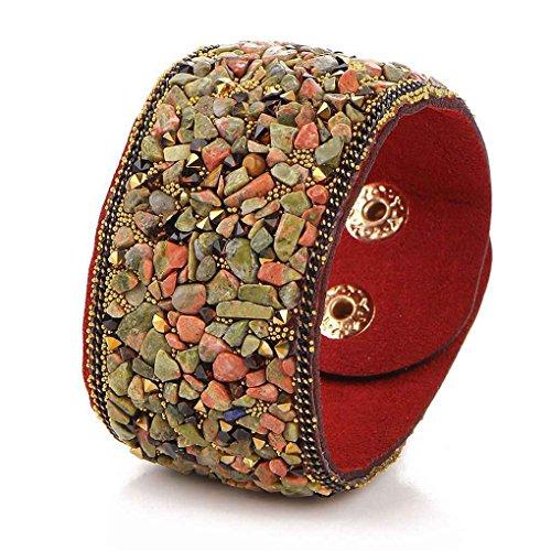 Natural Bangles (Women Punk style Wide Leather Bracelets Natural Crystal Gravel Bangle Bracelet Xuanhemen)