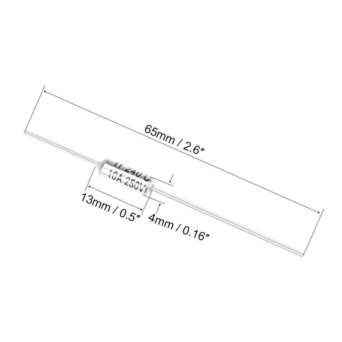 10A 216C 5pcs 250 V, TF, temperatura de grados Celsius, corte de circuito el/éctrico Sourcingmap Fusible t/érmico