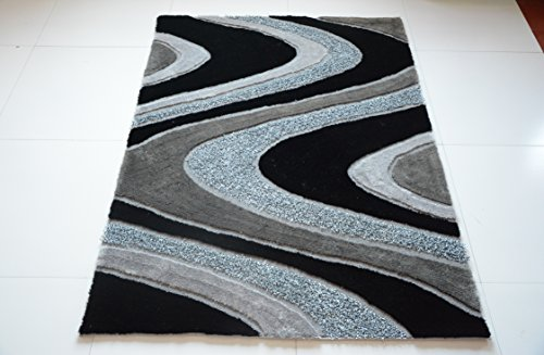All New Contemporary Solid Colored Silky Touch MultiColor Tufted 3D Shag Rugs by Rug Deal Plus (5' x 7', Grey/Black) by Rug Deal Plus