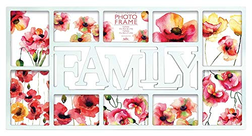 Price comparison product image Innova Editions Multi Aperture Opening / Collage Picture Frame 10 Photos (6 X 6X4Inch And 4 X 7X5Inch). Frame Size 37.5X47.8Cm. Maggiore Family,  White