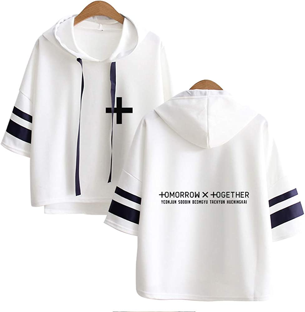 KPOP TXT Sudaderas con Capucha Camisa de Manga 3/4 Camiseta Pullover Impresión Hoodies Suelto Abrigo Suéter Casual Tops para los Fans HUENINGKAI ...