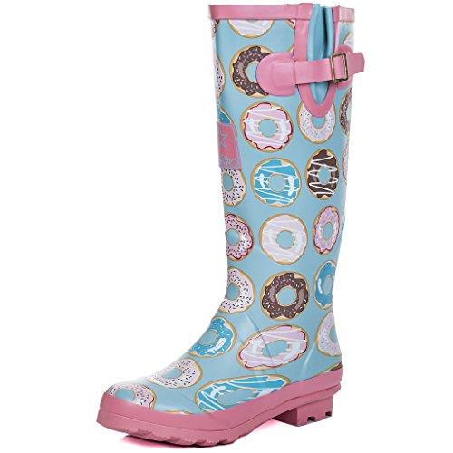 Women's Adjustable Welly IGLOO Spylovebuy Doughnuts Boots Buckle Flat Rain EqU5xxnR4z