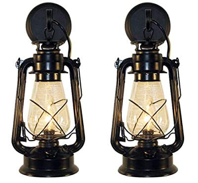 Rustic Lantern Wall Mounted Set - Large Black
