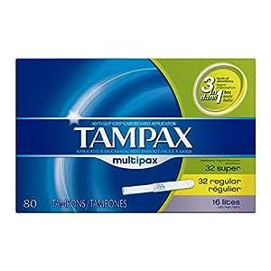 Tampax Anti-Slip Grip Cardboard Applicator, Lites/Regular/Super absorbency Multipax Tampons 80 Count, (Pack of 2)