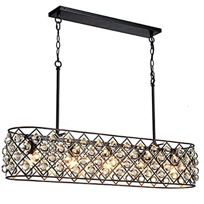 "Saint Mossi Antique Bronze Frame with Clear Crystal Glass Chandelier Lighting 43"" inch Length Linear Chandelier for Kitchen Island, Dining Room Raindrop Crystal Chandeleir, Mossinal Collection"