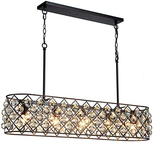 Saint Mossi Antique Bronze Frame with Clear Crystal Glass Chandelier Lighting 43 inch Length Linear Chandelier for Kitchen Island, Dining Room Raindrop Crystal Chandeleir, Mossinal Collection