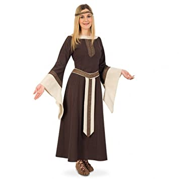 Fritz Fries & Söhne GmbH & Co Traje Medieval Mujer Noble Greta Vestido marrón Beige Larp Ropa Carnaval (XL)