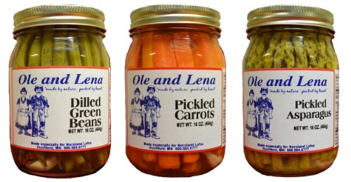 Ole & Lena Pickled Preserves (3 Pack Variety)-Pickled Asparagus, Pickled Carrots, Dilled Green Beans