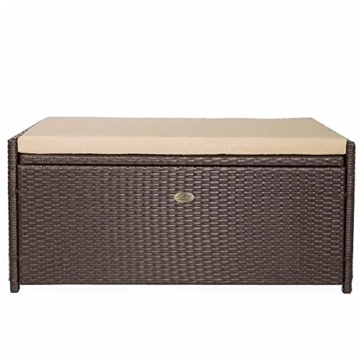 Deck Boxes Barton Outdoor Patio Deck Box Storage with Cushion Pad All-Weather Water Resistance, Brown outdoor deck boxes