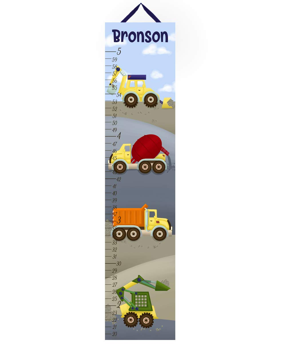 Canvas Growth Chart Primary Construction Truck Zone Personalized Growth Chart For Kids Children Height Chart Ruler Chart Gc0084 Amazon In Home Kitchen
