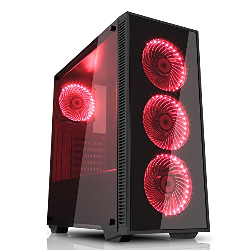Game Max Draco Black RGB 4 x 12cm RGB Fans Tempered Glass Side & Front Panels