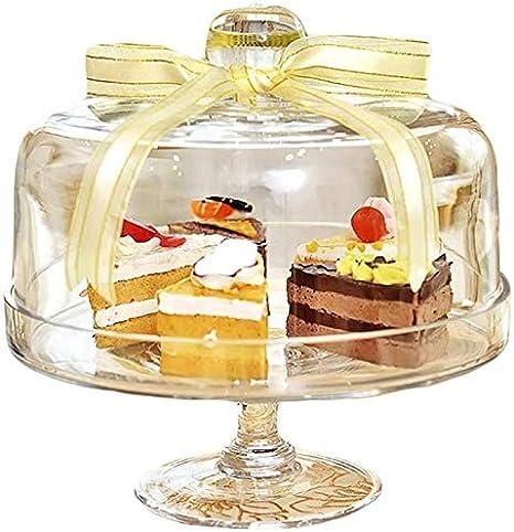 Bandejas para tartas plato de fruta de alta bóveda de cristal, transparente Cake Cúpula Postre Pan Cúpula restaurante de cocina de cristal Bandeja Bandeja con la cúpula de diámetro de la placa Ensalad