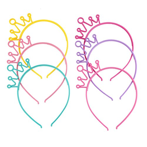 DARLING HER Wholesale Girls Princess Hairband Lovely Candy Color Plastic Crown Tiara Hoop Headband Hair Band Accessories 6 pieces ()