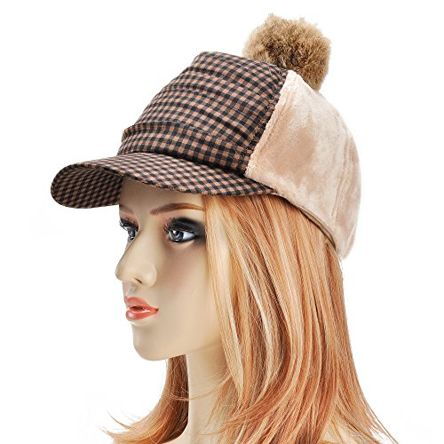 Two Rabbit Tone (ZLYC Women Two Tone Warm Lint Baseball Cap Hat With Rabbit Fur Pompom)