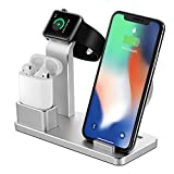 NEXGADGET 4 in 1 Aluminum Charging Stand Compatible for Apple Watch and AirPods,Detachable Wireless Charger Replacement for iPhone X / 8/8 Plus Samsung Galaxy S9/S8/S7 and All Qi-Enabled Devices