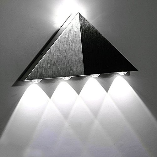 Decor Interior Home (Lemonbest Modern Triangle 5W LED Wall Sconce Light Fixture Indoor Hallway Up Down Wall Lamp Spot Light Aluminum Decorative Lighting for Theater Studio Restaurant Hotel (Cool White))