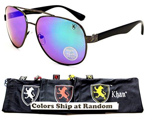 A181-kp Khan Turbo Sporty Aviator Sunglasses (P3033C Gunmetal/Black-Emerald Mirror, - Brands Celebrity Eyeglasses