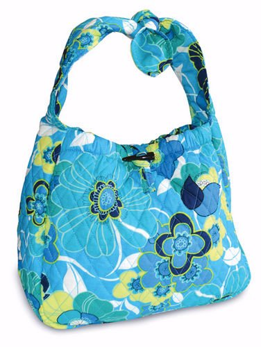 Purse-Quilted Hobo Purse-Blue Blossoms Blossom Hobo