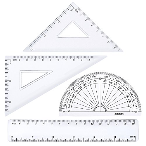 eBoot 4 Pieces Math Geometry Tool Plastic Clear Ruler Sets, Protractor, Triangle