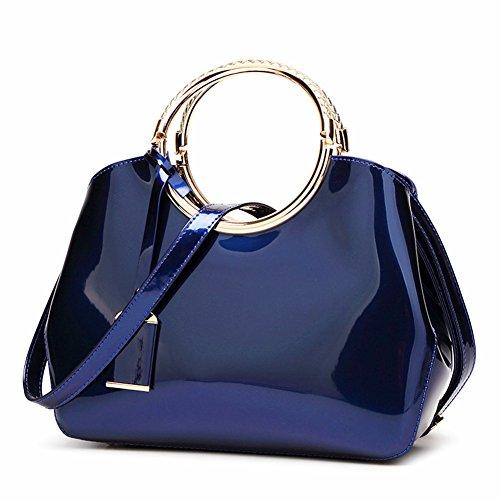 Handbags Patent Leather Satchel Shoulder Bag With Adjustable Shoulder Strap For Women EB04 Navy