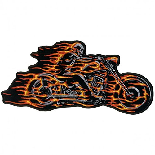 Flaming Skeleton (Hot Leathers, HELL RIDER MOTORCYCLE with Flaming Bike & Skeleton Rider, Iron-On / Saw-On Rayon PATCH - 5