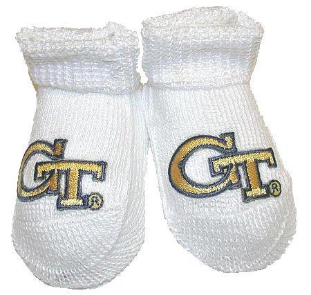 Creative Knitwear- Georgia Tech - Newborn Baby - Booties (White)