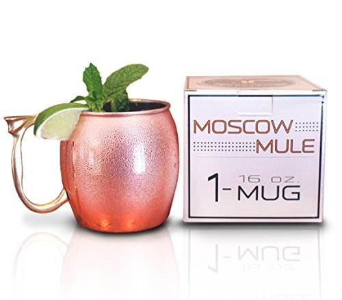 Craft Cocktails - Gift Box - Polished 16 Oz. Long Lasting Stainless Steel Lined - Copper Moscow Mule Mug