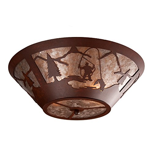 Steel Partners Lighting 2536-R-B FLY FISHERMAN Round Drop Ceiling Mount with Amber Mica Lens, Black Finish ()
