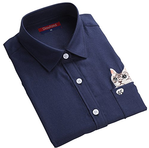 Dioufond Women Cat Embroidered Blouse Oxford Cotton Long Sleeve Shirt (US 3XL-Tag 5XL, (Cotton Embroidered Oxford Shirt)