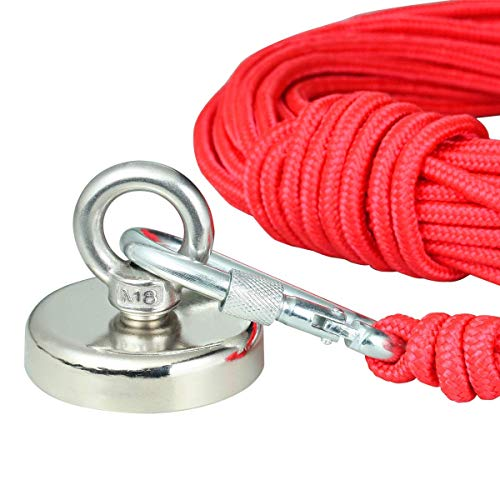 Fishing Magnet with Rope x 66ft, Wukong 290LB(132KG) Pulling Force Super Strong Neodymium Magnet with Heavy Duty Rope & Carabiner for Magnet Fishing and Retrieving in River - 60mm Diameter