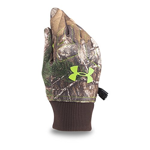 Under Armour Boys' Youth ArmourFleece Glove, Realtree Ap-Xtra (946)/Velocity, Youth Medium