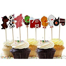 48Pcs Farm Animals Cupcake Muffin Topper Picks Cake Decoration Baby Shower Birthday Party Favors Animals Zoo Cow,Chickens,ducklings,pigs,horses,tractors