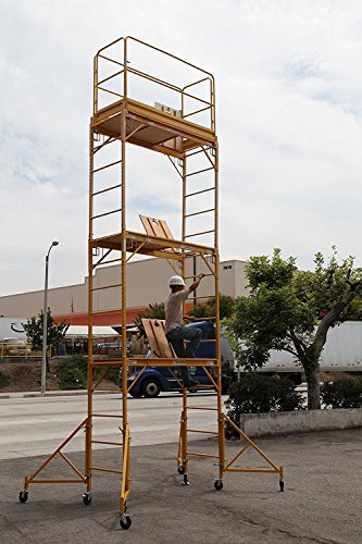 Scaffold Rolling Tower Standing at 17' High with Hatch Deck Guard Rail and U Lock Brace CBM1290 by Scaffold Rolling Tower
